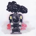 """Disegno per """"L'attore"""": treno in arrivo, Cineteca comunale, Rimini"""