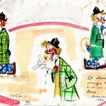 """Disegno per """"I clowns"""": il clown Pierino con la candela, Cineteca comunale, Rimini"""