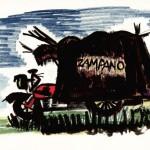 """Disegno per """"La strada"""": il motocarro di Zampanò, Cineteca comunale, Rimini"""